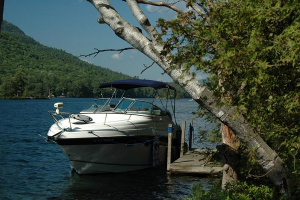 A boat with a blue awning parked at a private dock on Lake George. To the right of the dock are various trees, to the left are the mountains.