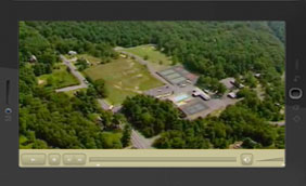 Lake George RV Park Videos an aerial image of the entrance to the park