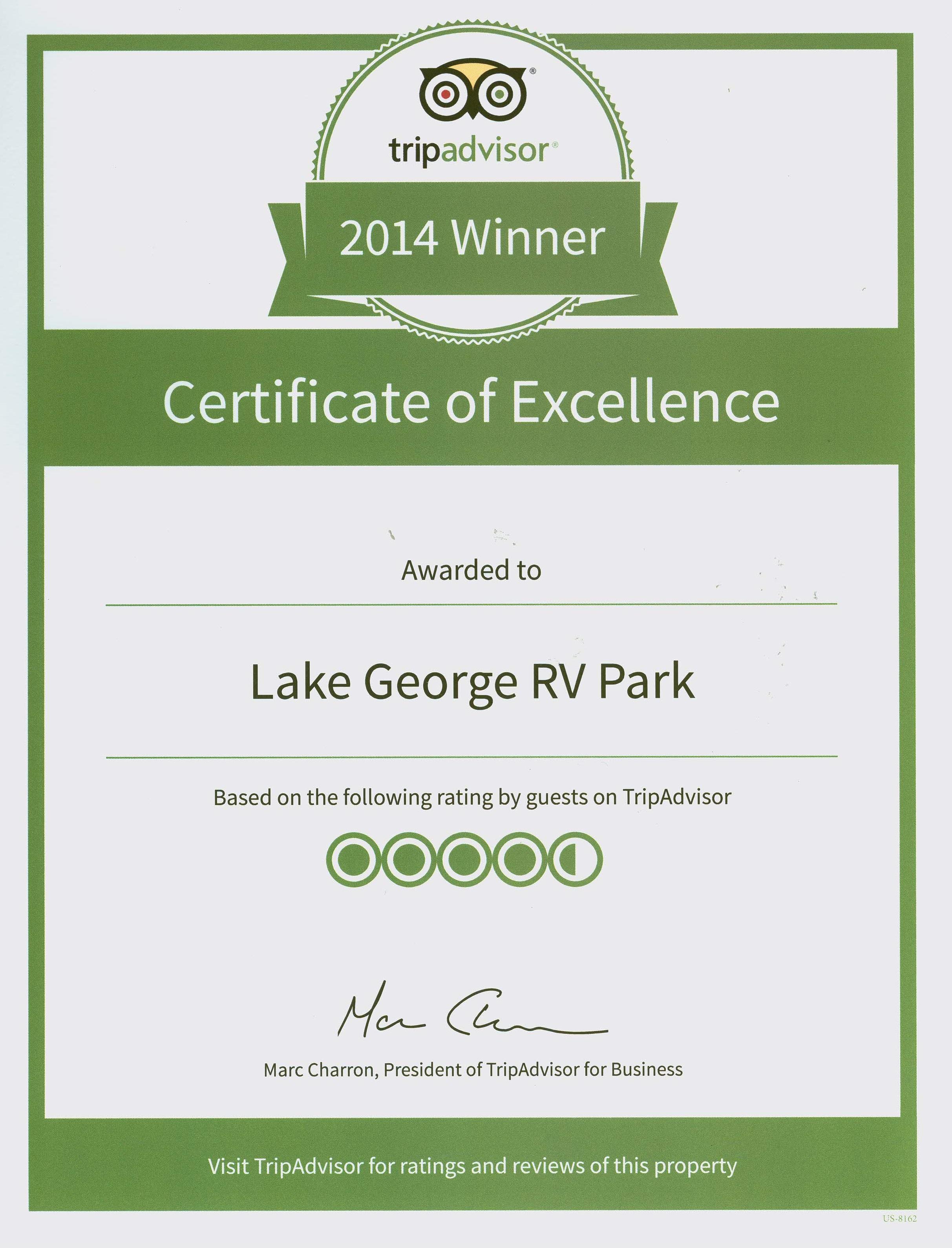 2014 Tripadvisor Certificate Of Excellence Lake George Rv Park