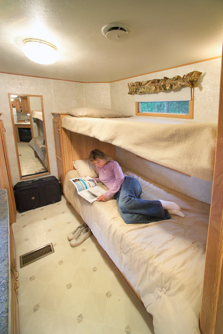 Second bedroom has either 2 sets of twin size or 1 set of full size bunk beds