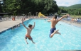 Jumping in without fear into our west outdoor pool