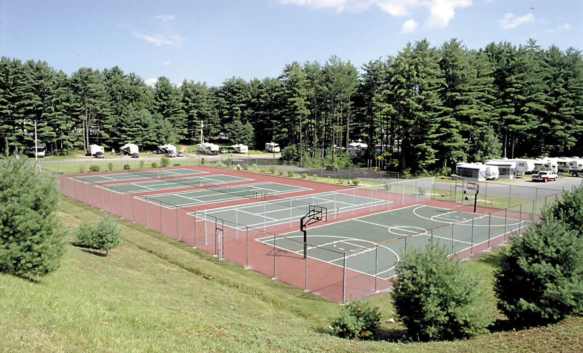 Our east end has its own basketball and tennis courts