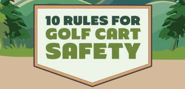 10 rules for golf cart safety graphic