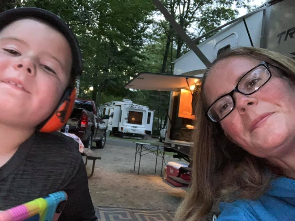 mom and son posing for selfie