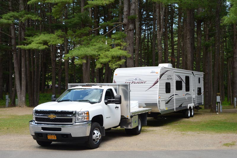 Lake George RV Park offers towing services when you store your RV with us