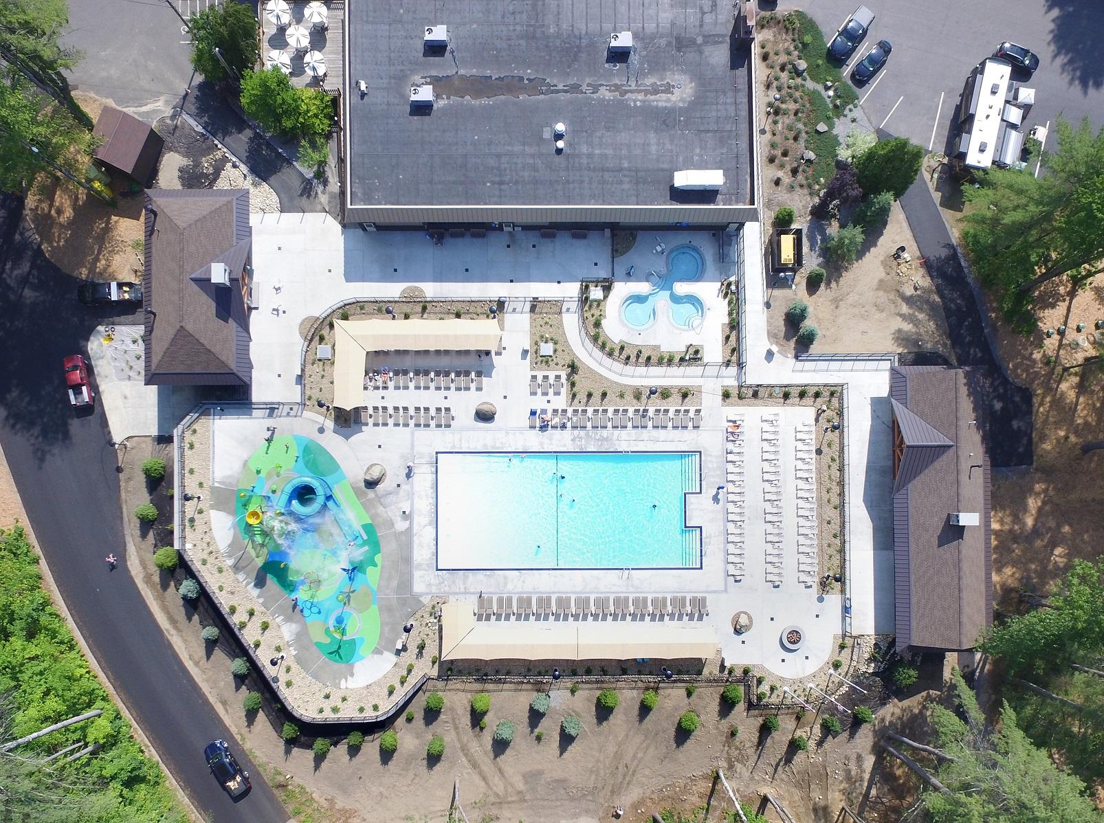 aerial view of cascade cove aquatic park
