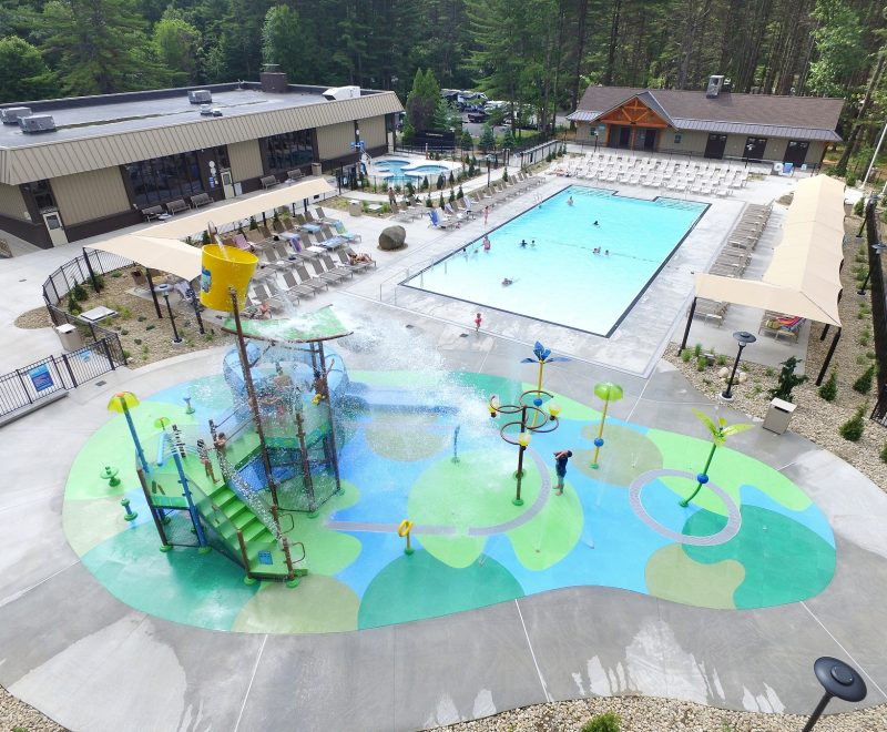 Overhead view of pool area and water park area