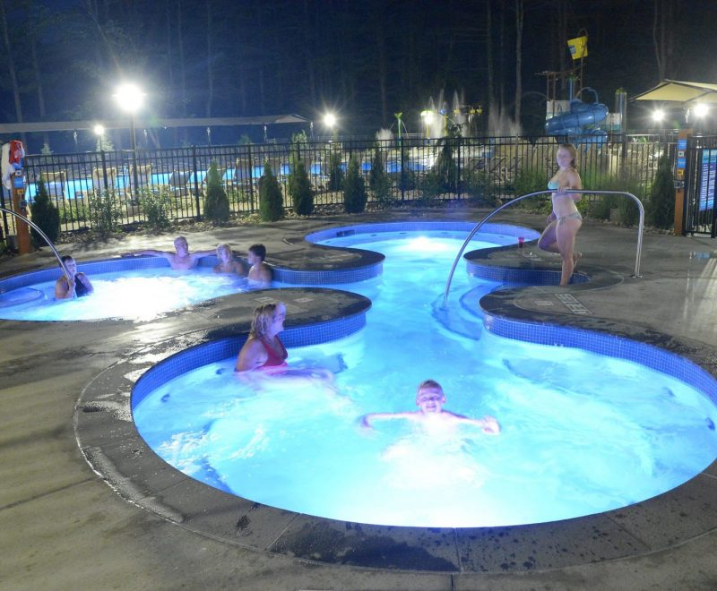Hot tubs at night