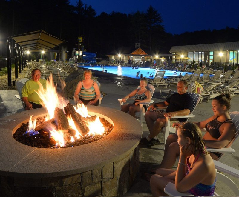 Fire pit in east end pool area