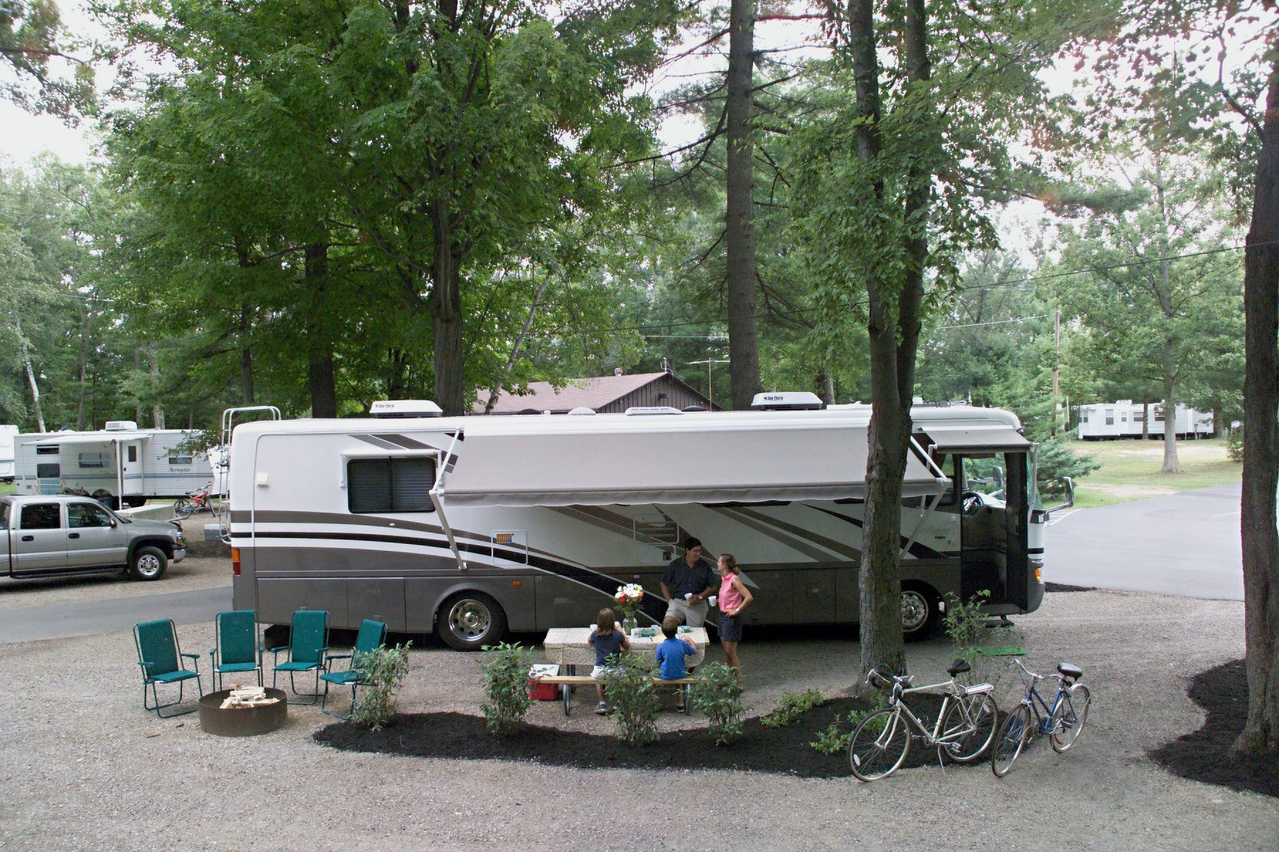 RV setup in campsite