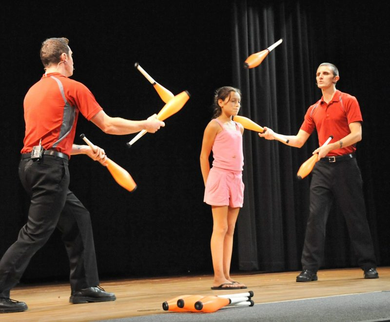 A juggling performance in our French Mountain Playhouse