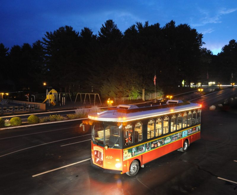 Trolley at night