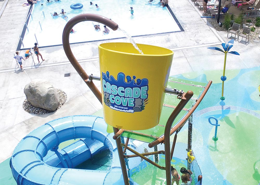 Cascade Cove splash pad tipping bucket