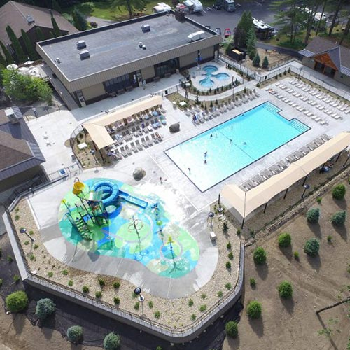 A above view of our east building, Cascade Cove, zero entry pool and spa