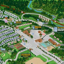 A section of the Lake George RV Park map. Featuring the French Mountain Trading post and office when entering the main entrance of the park. You can see numerous sites as well as a pool.