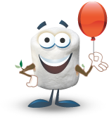 Marshmallow Mascot with Balloon
