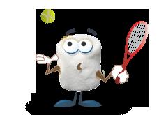 Marshmallow Mascot holding tennis racket