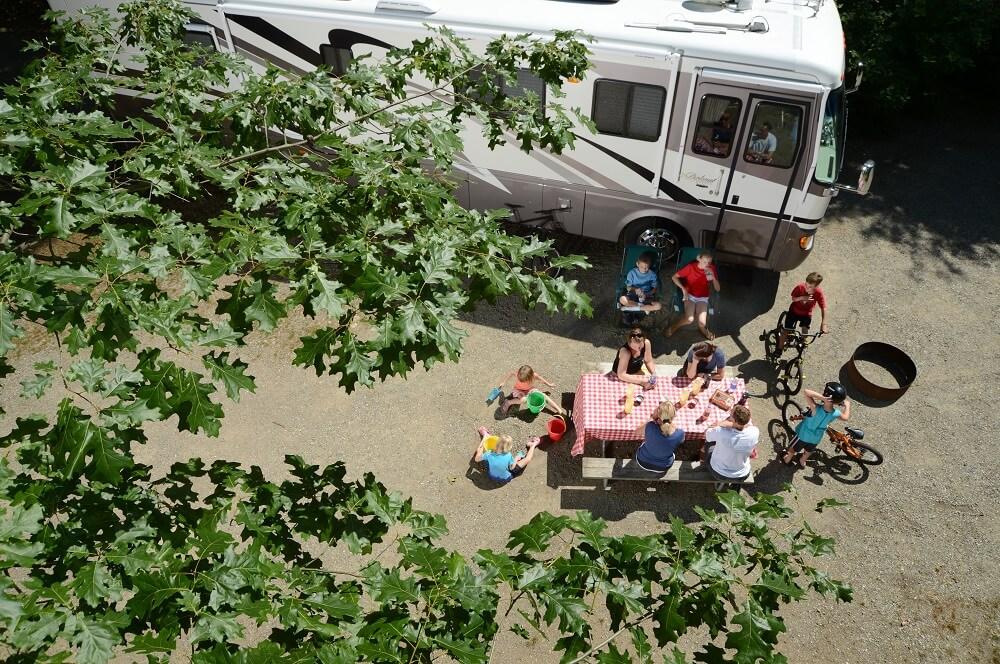 Family having a picnic onsite