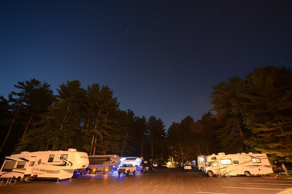 Clear night sky with view of RV's onsite