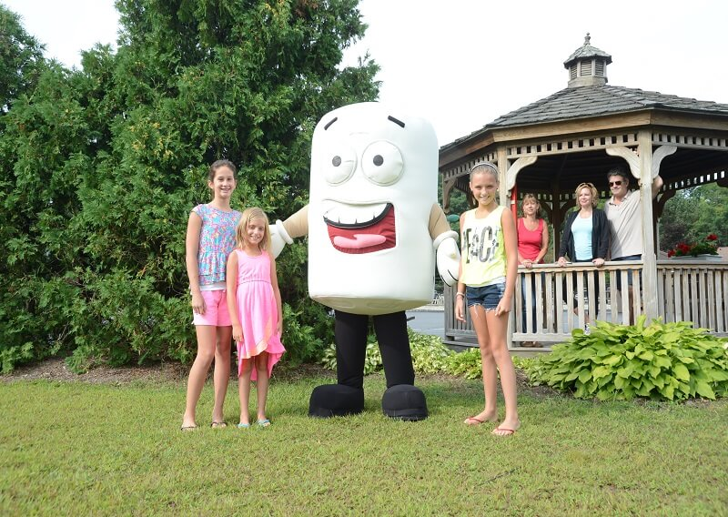 Children meeting our mascot Toasty the Marshmallow
