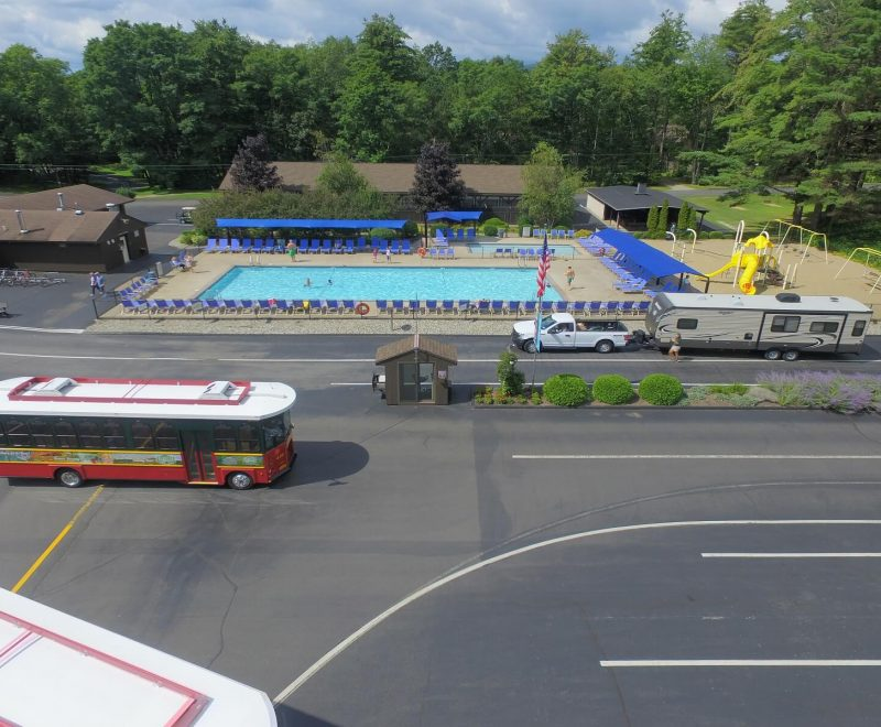 Aerial view of entrance with trolley and RV