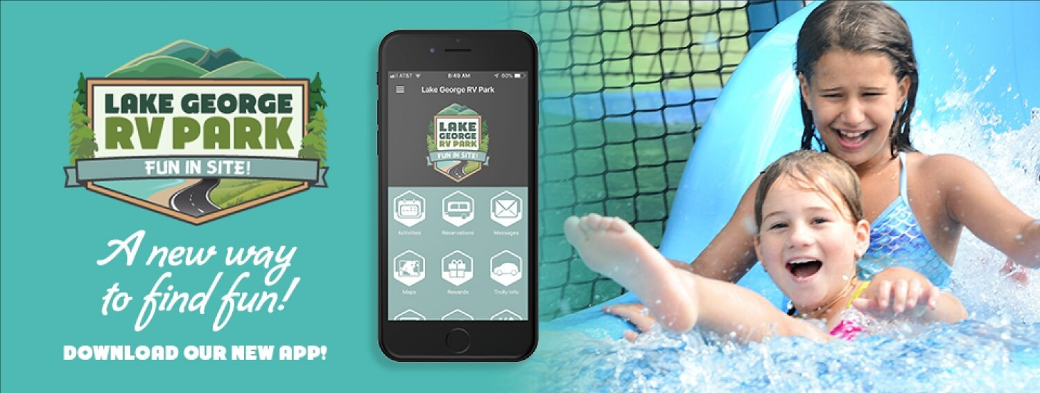Lake George RV Park FUn in site - a new way to find fun! Download our new app!