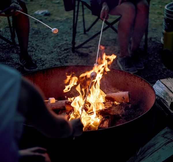 roasting marshmallows in firepit