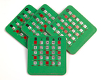 4 green bingo cards with red sliders