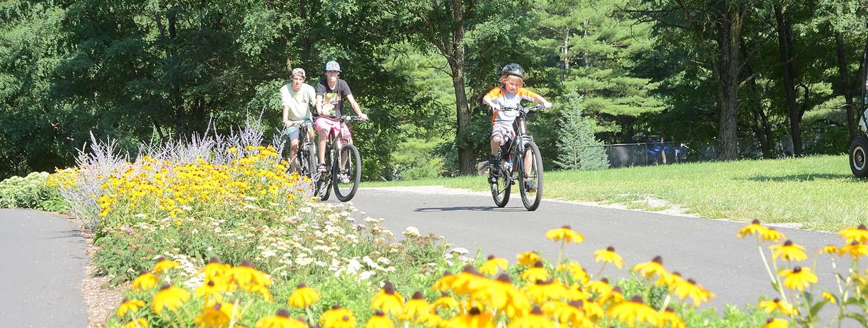 Group riding bikes on bike path