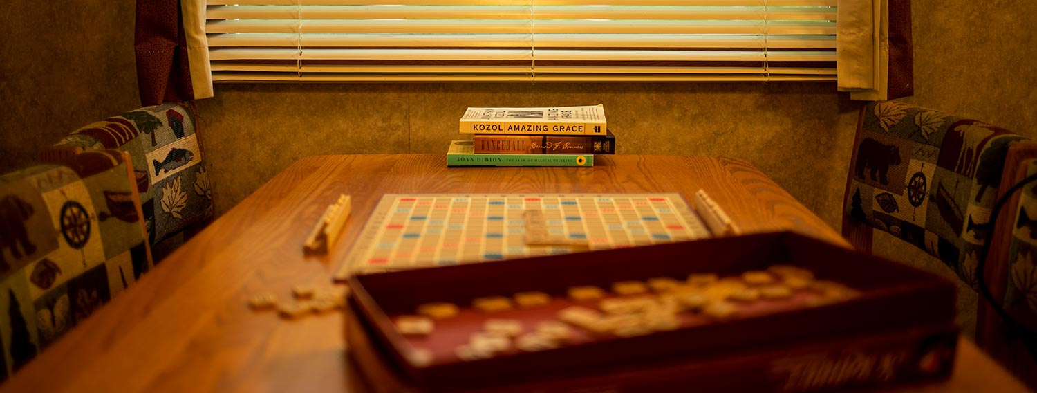 Books and games on table