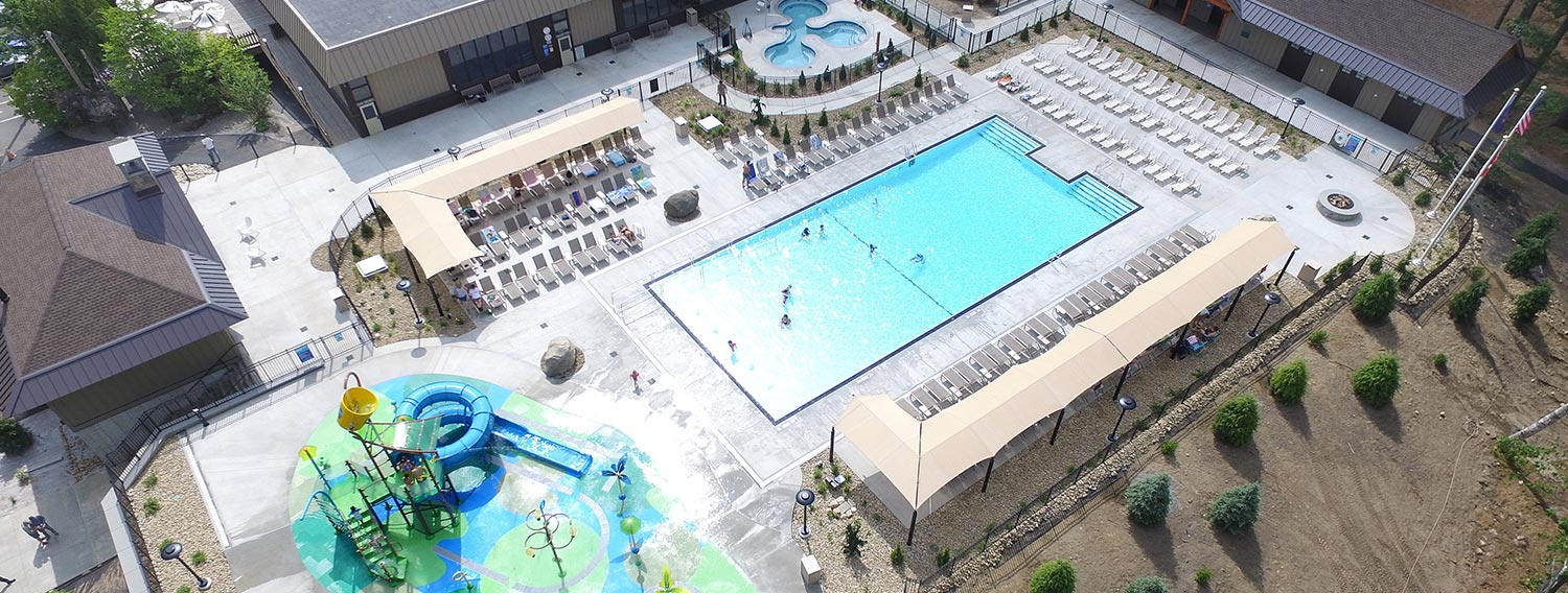 Aerial shot of water park and pool