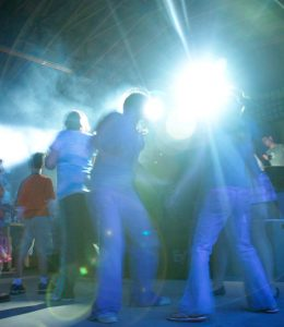 DJ Dance & light Show in our bingo pavilion, numerous guests dancing under the disco lights